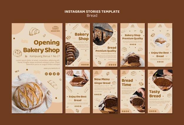 Collection d'histoires instagram pour une boulangerie