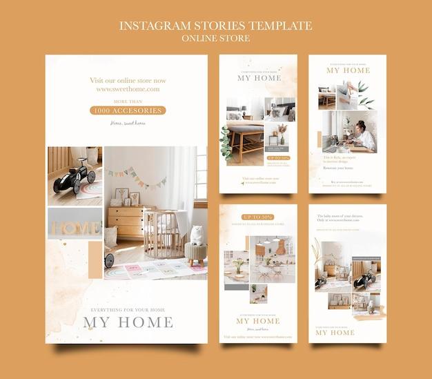 Collection d'histoires instagram pour la boutique en ligne de meubles de maison