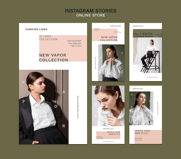 Collection d'histoires instagram pour une boutique de mode en ligne minimaliste