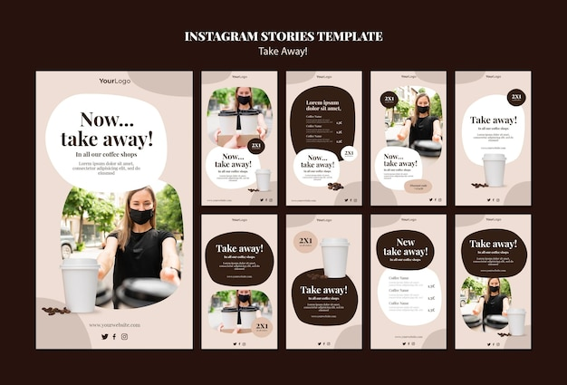 Collection d'histoires instagram pour le café à emporter