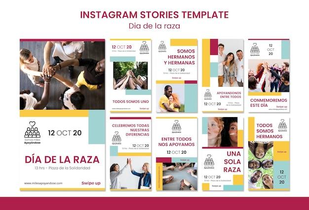 Collection d'histoires instagram pour la célébration de la journée de columbus