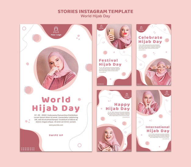 Collection d'histoires instagram pour la célébration de la journée mondiale du hijab