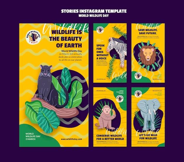 Collection d'histoires instagram pour la célébration de la journée mondiale de la faune
