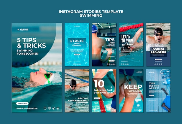 Collection d'histoires instagram pour les cours de natation