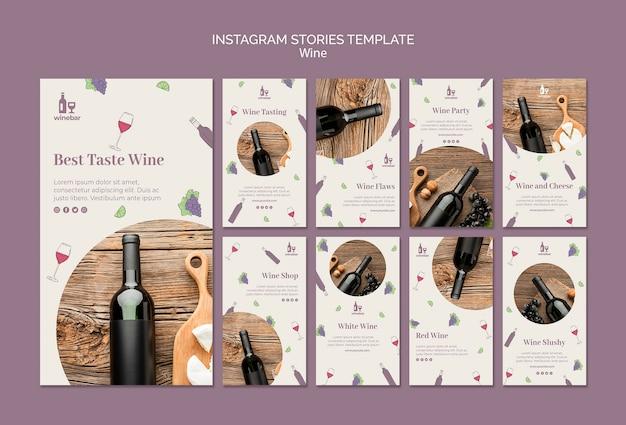 Collection d'histoires instagram pour la dégustation de vins