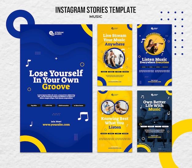 Collection d'histoires instagram pour la diffusion de musique en direct