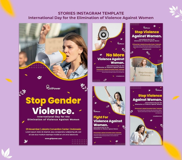 Collection d'histoires instagram pour l'élimination de la violence à l'égard des femmes