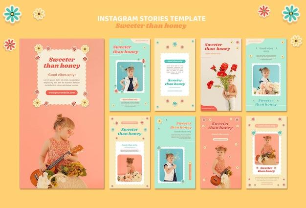 Collection d'histoires instagram pour enfants avec des fleurs