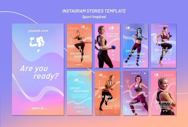 Collection d'histoires instagram pour l'entraînement physique