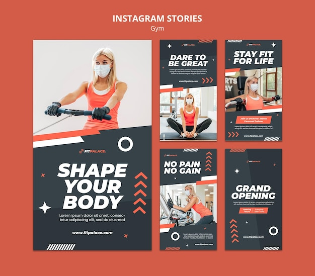 Collection d'histoires instagram pour l'entraînement en salle de sport avec une femme portant un masque médical