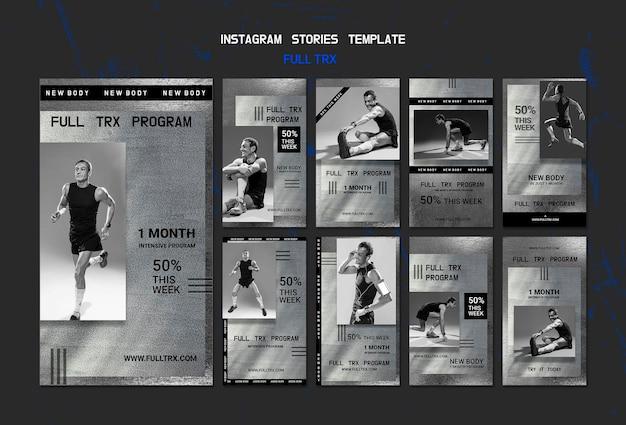Collection d'histoires instagram pour l'entraînement trx avec un athlète masculin