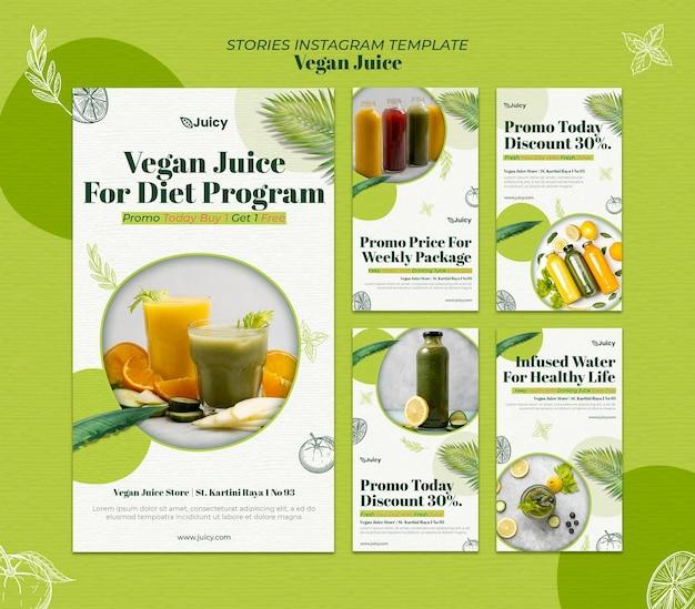 Collection d'histoires instagram pour une entreprise de livraison de jus végétalien