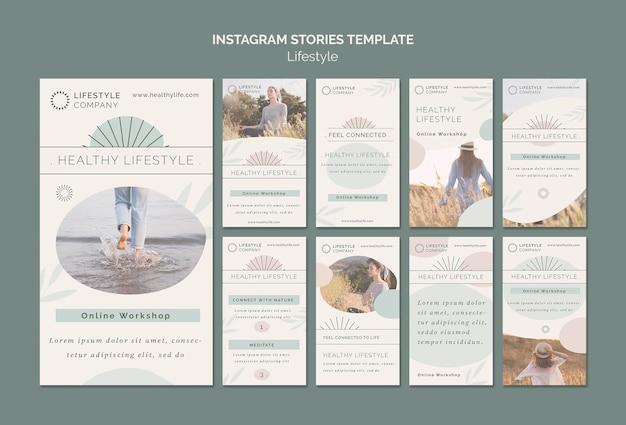 Collection d'histoires instagram pour une entreprise de mode de vie sain