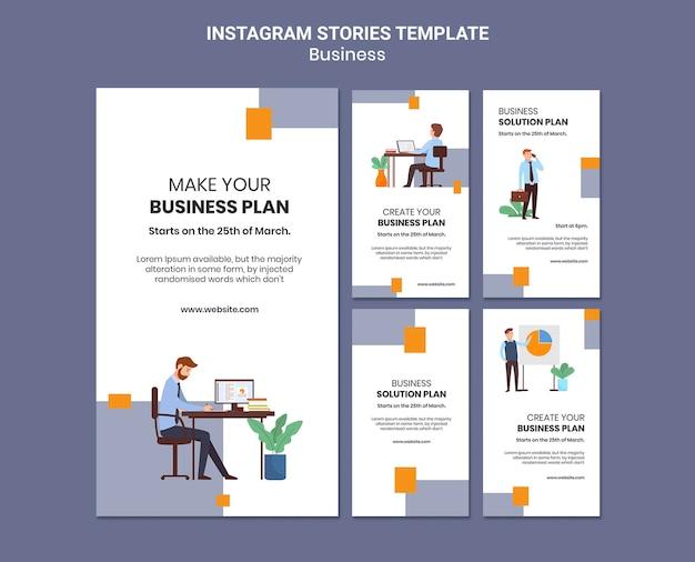 Collection d'histoires instagram pour entreprise avec plan d'affaires créatif