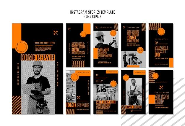 Collection d'histoires instagram pour une entreprise de réparation de maisons