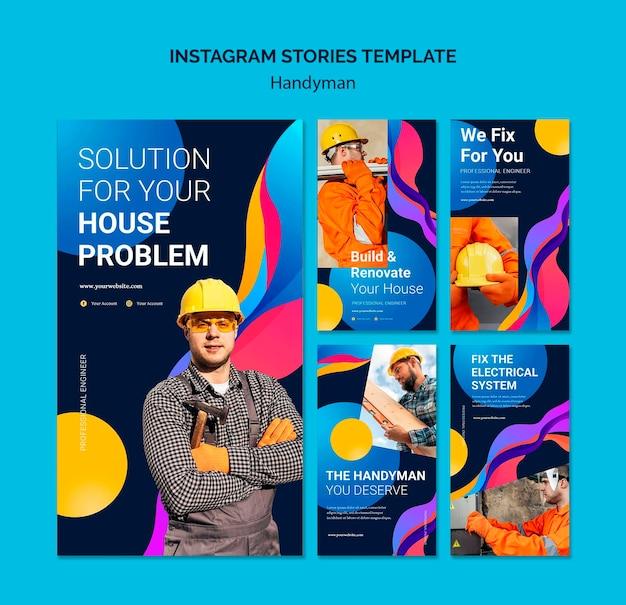 Collection d'histoires instagram pour les entreprises offrant des services aux bricoleurs