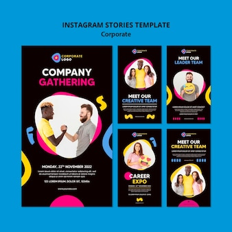 Collection d'histoires instagram pour une équipe d'entreprise créative