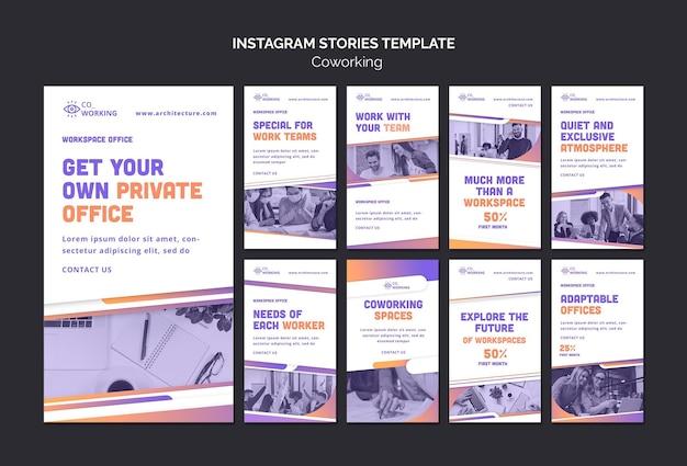 Collection d'histoires instagram pour l'espace de coworking