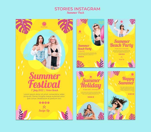 Collection d'histoires instagram pour le festival d'été