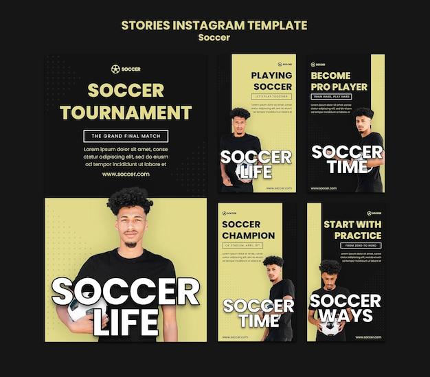 Collection d'histoires instagram pour le football avec un joueur masculin