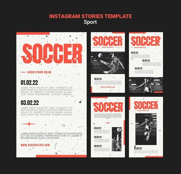 Collection d'histoires instagram pour le football avec une joueuse