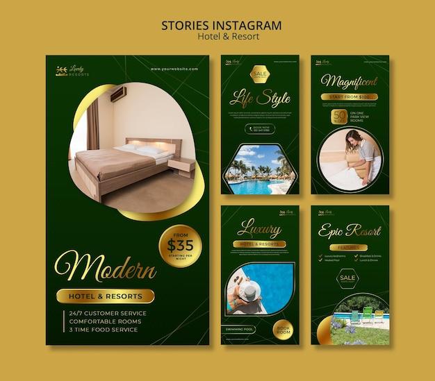 Collection d'histoires instagram pour hôtel et complexe