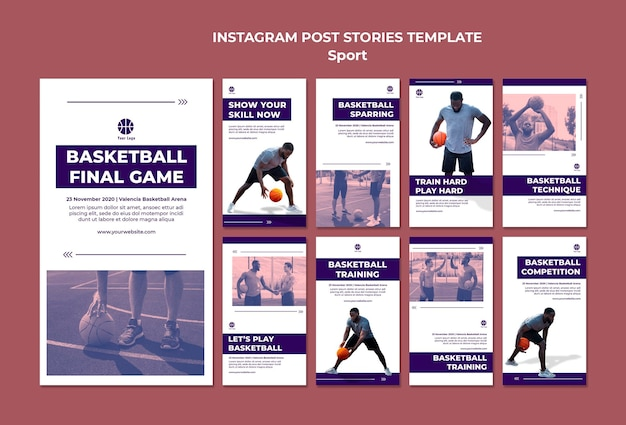 Collection d'histoires instagram pour jouer au basket