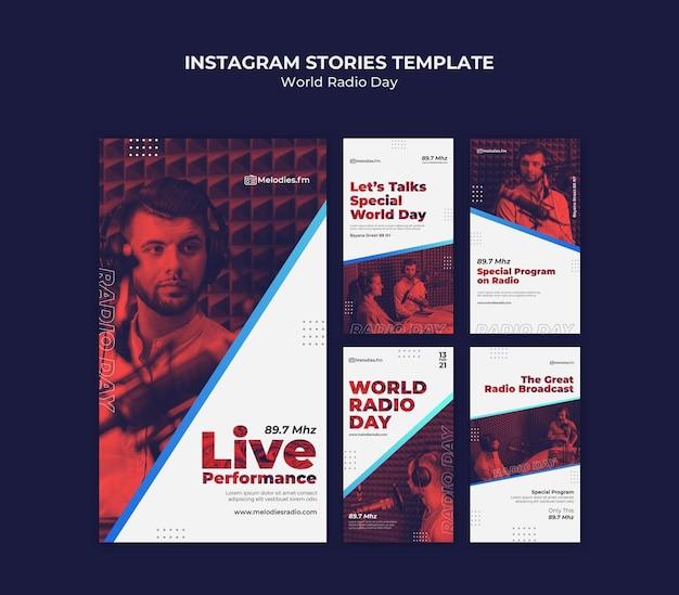 Collection d'histoires instagram pour la journée mondiale de la radio avec un diffuseur masculin