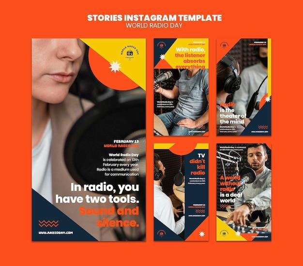 Collection d'histoires instagram pour la journée mondiale de la radio avec diffuseur et microphone