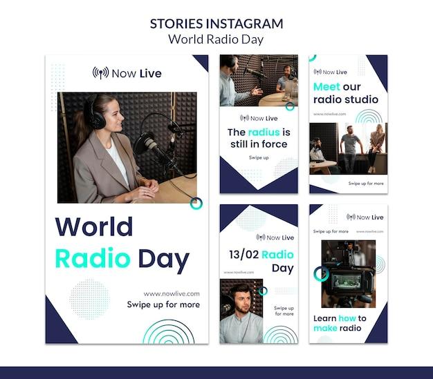Collection d'histoires instagram pour la journée mondiale de la radio