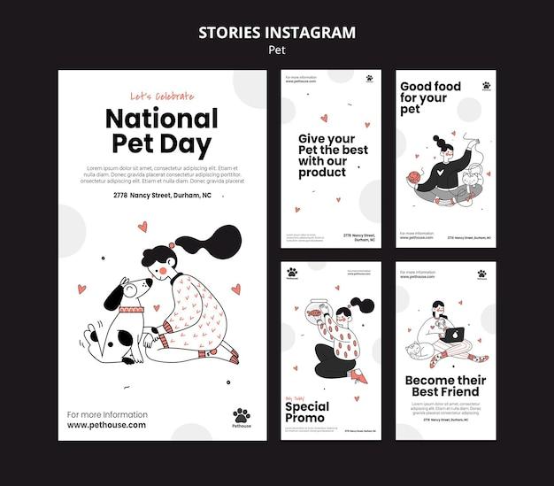 Collection d'histoires instagram pour la journée nationale des animaux de compagnie avec une propriétaire et un animal de compagnie