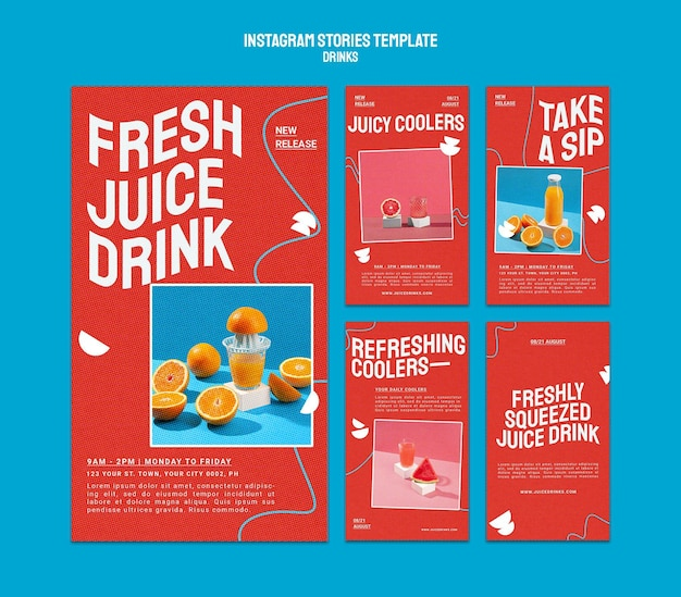 Collection d'histoires instagram pour des jus de fruits sains