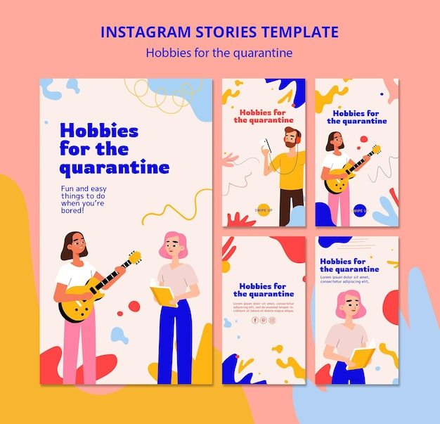 Collection d'histoires instagram pour les loisirs pendant la quarantaine