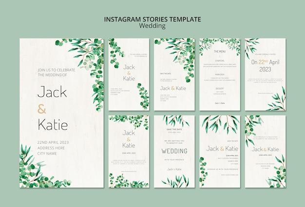 Collection d'histoires instagram pour mariage avec des feuilles