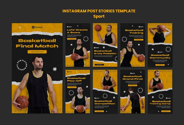 Collection d'histoires instagram pour un match de basket avec un joueur masculin