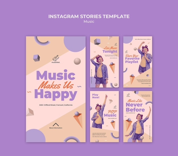 Collection d'histoires instagram pour la musique avec une femme utilisant des écouteurs et dansant