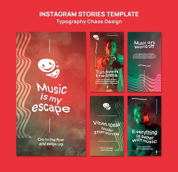 Collection d'histoires instagram pour la musique avec l'homme et le brouillard