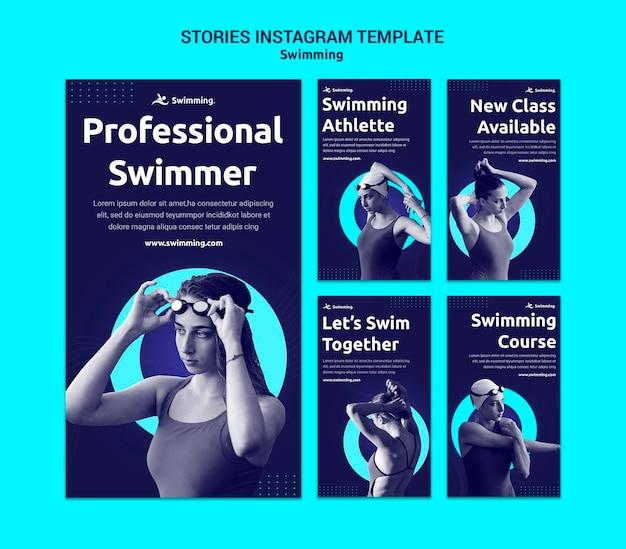 Collection d'histoires instagram pour nager avec une nageuse