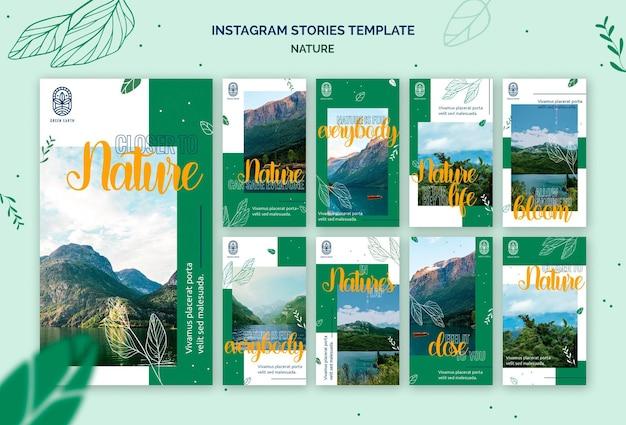 Collection d'histoires instagram pour la nature avec un paysage de vie sauvage