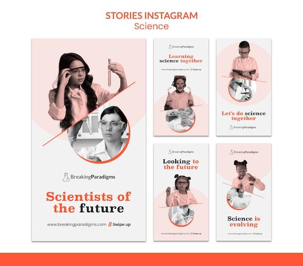 Collection d'histoires instagram pour la nouvelle conférence de scientifiques