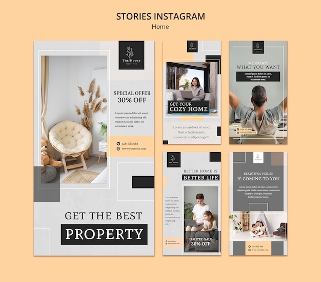 Collection d'histoires instagram pour une nouvelle maison de rêve