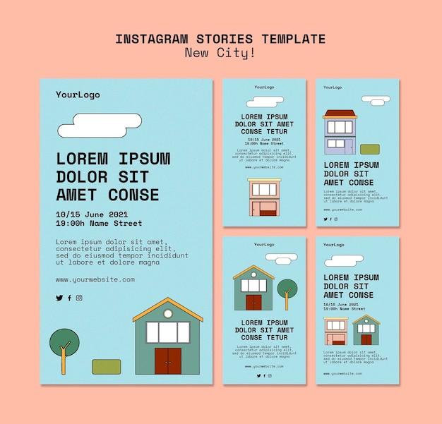 Collection d'histoires instagram pour une nouvelle ville avec des bâtiments