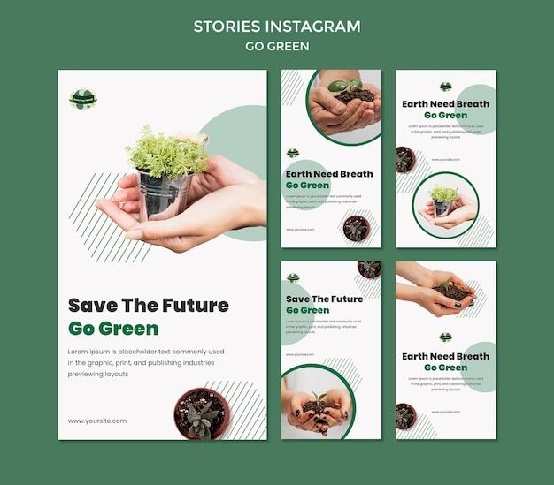 Collection d'histoires instagram pour passer au vert et à l'environnement