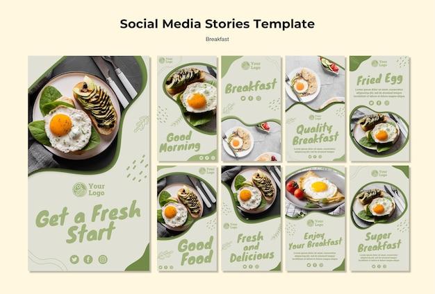 Collection d'histoires instagram pour un petit-déjeuner sain