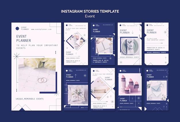 Collection d'histoires instagram pour la planification d'événements sociaux et d'entreprise