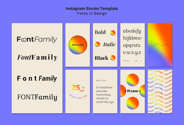 Collection d'histoires instagram pour les polices et le design