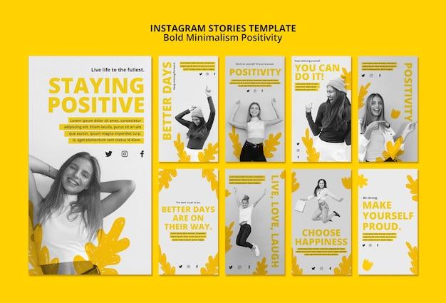 Collection d'histoires instagram pour le positivisme