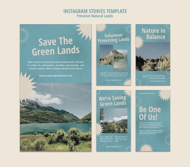Collection d'histoires instagram pour la préservation de la nature avec paysage
