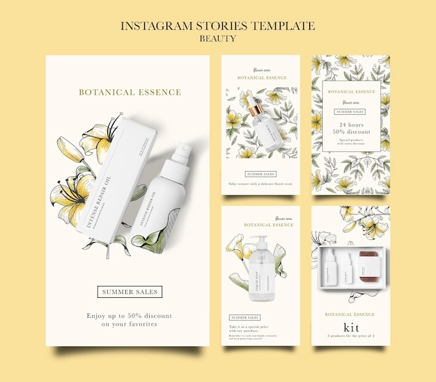 Collection d'histoires instagram pour les produits de beauté avec des fleurs dessinées à la main