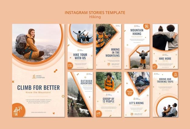 Collection d'histoires instagram pour la randonnée dans la nature